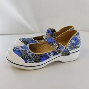 DANSKO Blue White Floral Vegan Mary Janes Sz 37